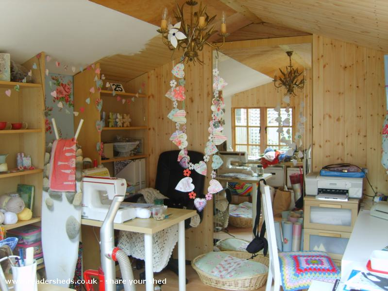 Photo of HERS, entry to Shed of the year-ooops an untidy moment...to many cat baskets and they still sit on MY SEAT!! hehe