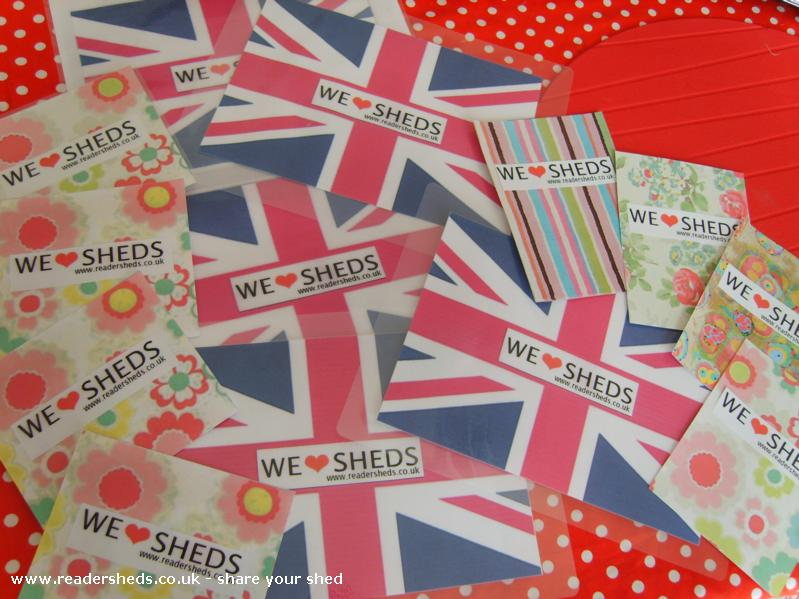 Photo of HERS, entry to Shed of the year-Union Jack 'we love sheds' window stickers