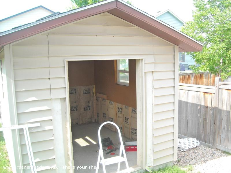 Photo of Marilyn's, entry to Shed of the year-At the start, adding french doors - note interior..