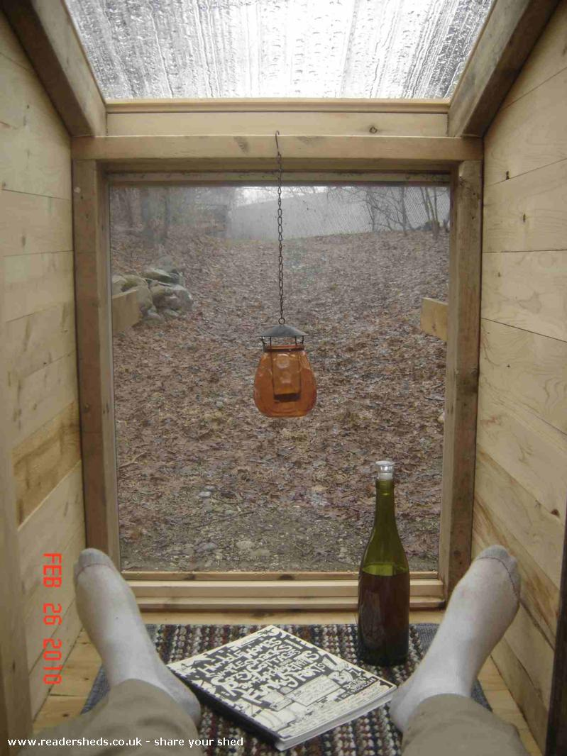 Photo of The Hickshaw (a rickshaw shed, for hicks), entry to Shed of the year-Interior from occupant's vantage