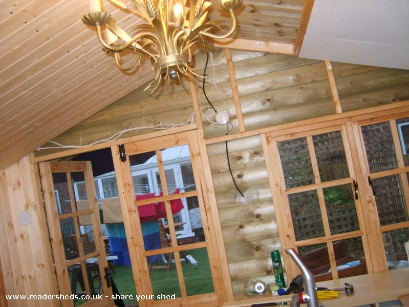 Photo of HERS, entry to Shed of the year-another wall insulated and panelled just the front door and window wall and half the roof to do