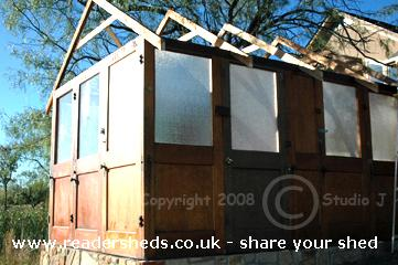 Photo of House of Doors, entry to Shed of the year-Adding the rafters