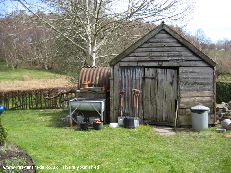 Photo of Wernfach Shed, entry to Shed of the year-Another front view, with Anderson shelter/ wood store to the right.