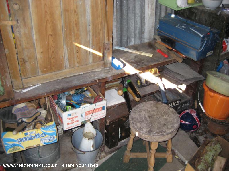 Photo of Wernfach Shed, entry to Shed of the year-A side view inside the shed with the legendary barstool.