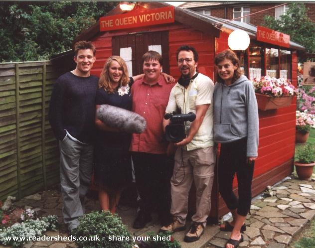 Photo of The Queen Victoria, entry to Shed of the year-Front with BBC filming