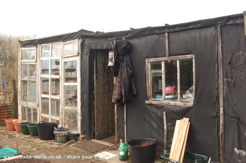 Photo of Plot 34 gardening combo, entry to Shed of the year-Front view, greenhouse, shed, allotment