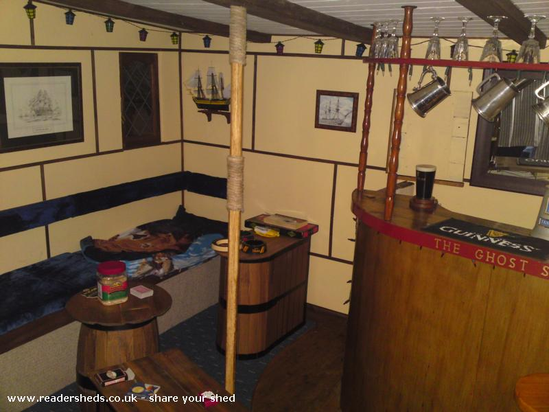Photo of The Ghost Ship, entry to Shed of the year-Wide angle view of seating, tables and bar area.