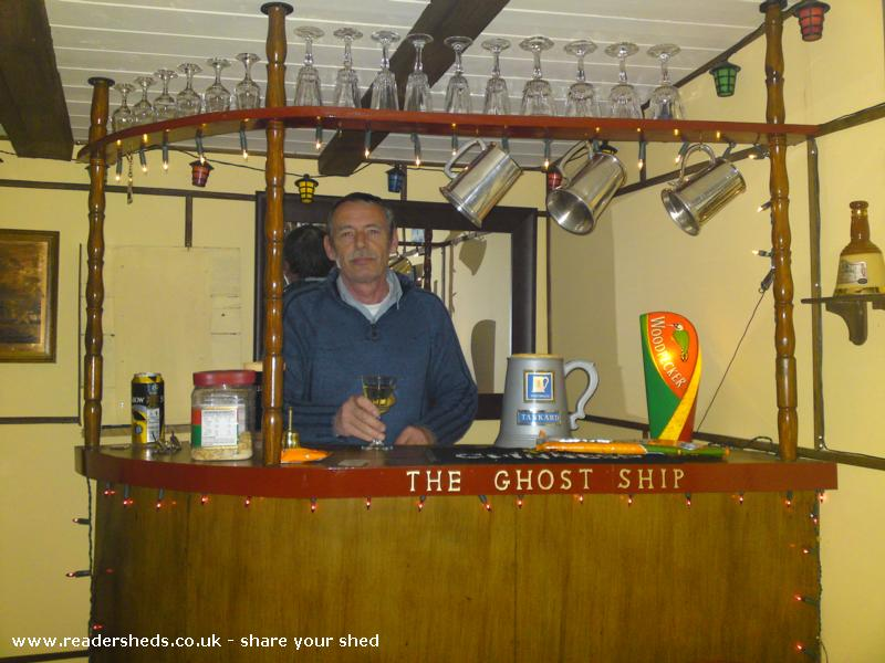Photo of The Ghost Ship, entry to Shed of the year-Me behind the bar.