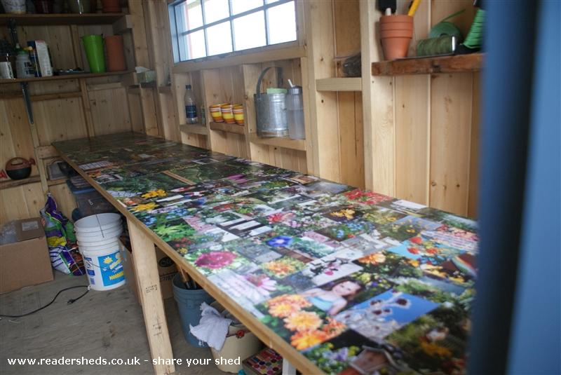 Photo of Kathy's Shed, entry to Shed of the year-work bench with photo collage