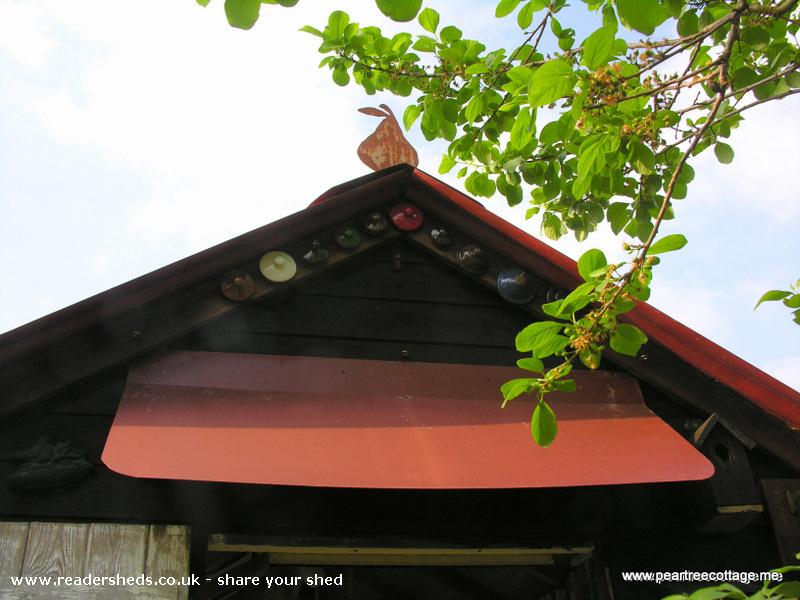 Photo of 'The Studio', entry to Shed of the year-Pear finial & old tea pot lids
