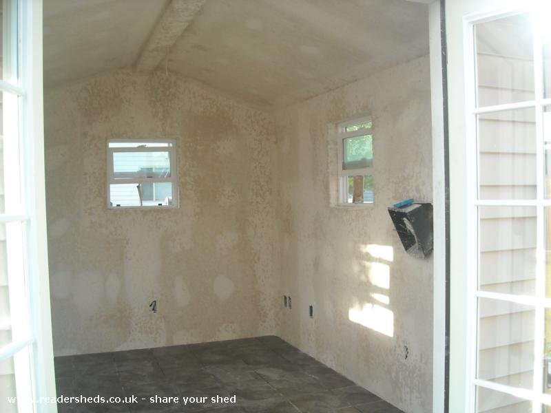 Photo of Marilyn's, entry to Shed of the year-French doors on, completing drywall