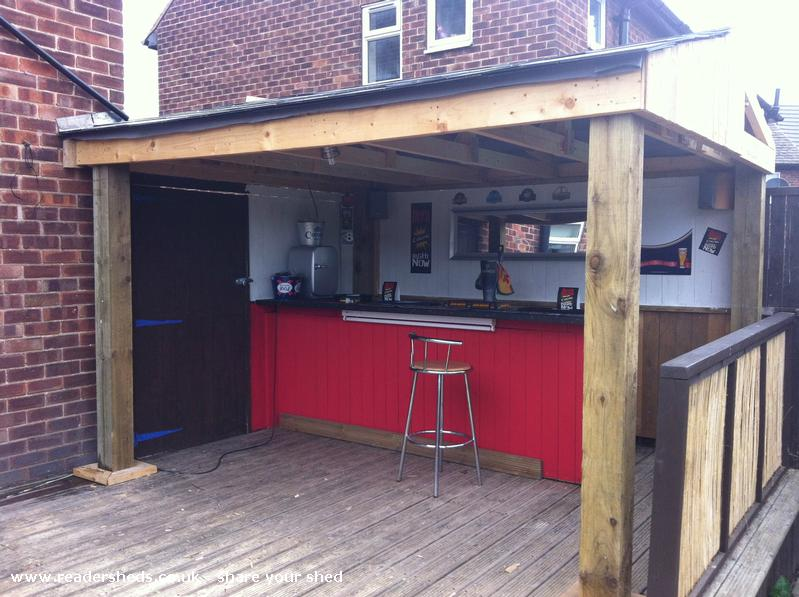 Elmos place pub entertainment from garden on decking for Garden shed pub