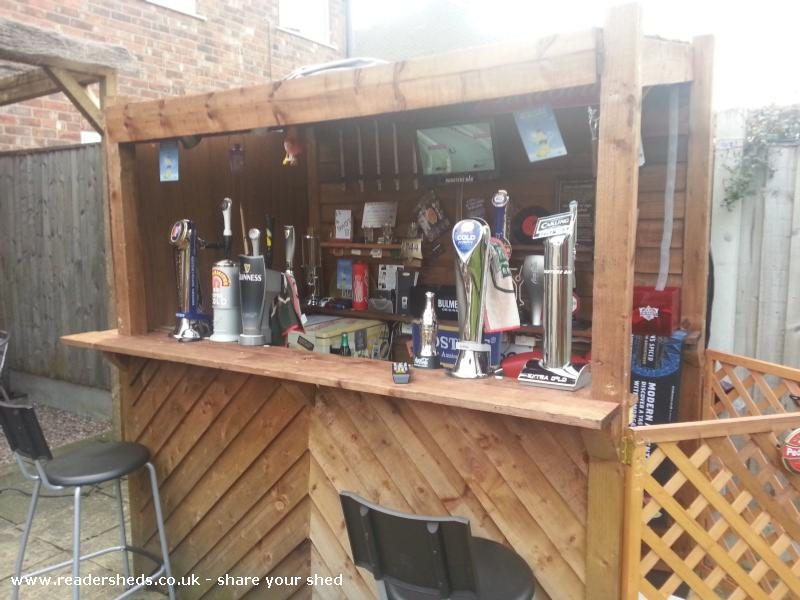Roosters bar pub entertainment from back garden owned by for Garden shed pub