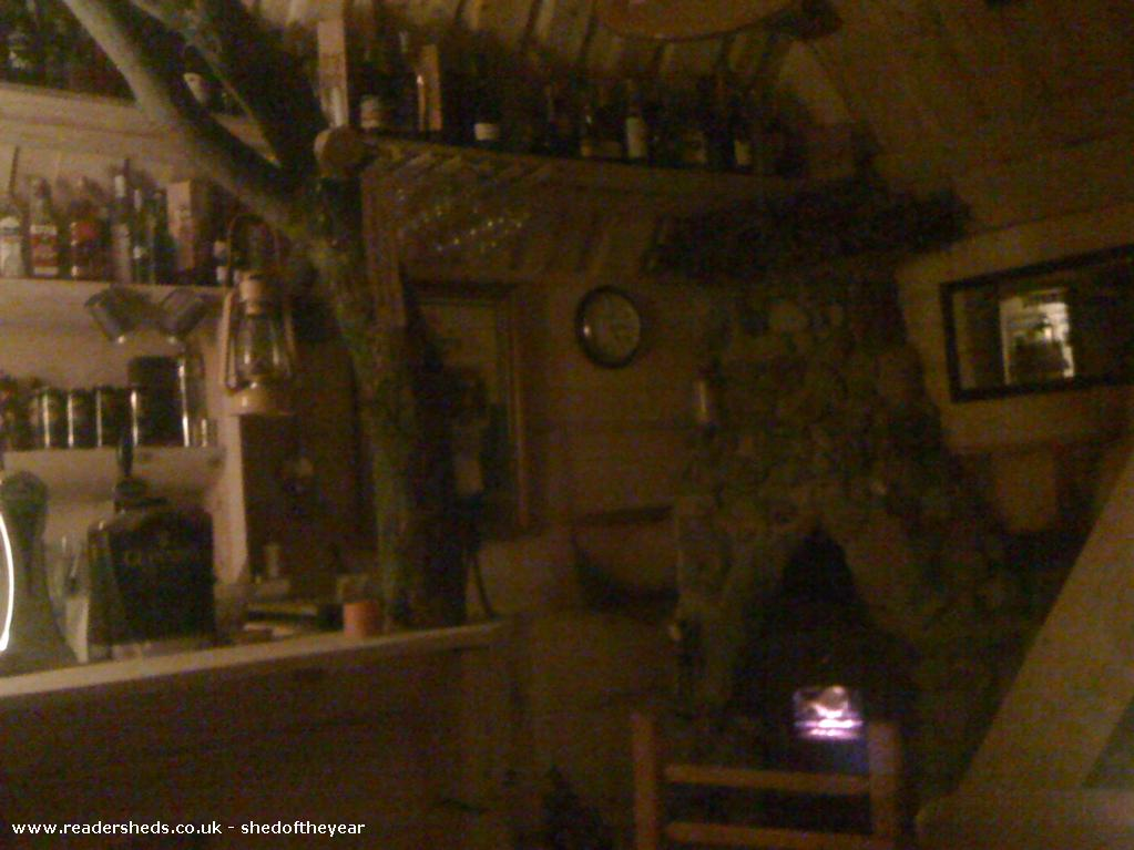 Photo of The Hooting Owl, entry to Shed of the year-Handmade (by Dad!) stone fireplace inside the Hooting Owl