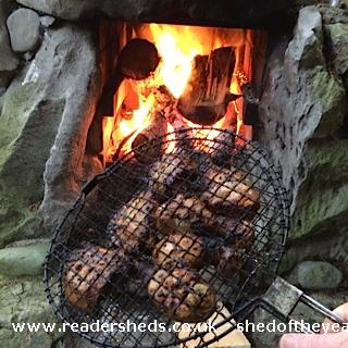 Photo of The Hooting Owl, entry to Shed of the year-Cooking over the fireplace at The Hooting Owl