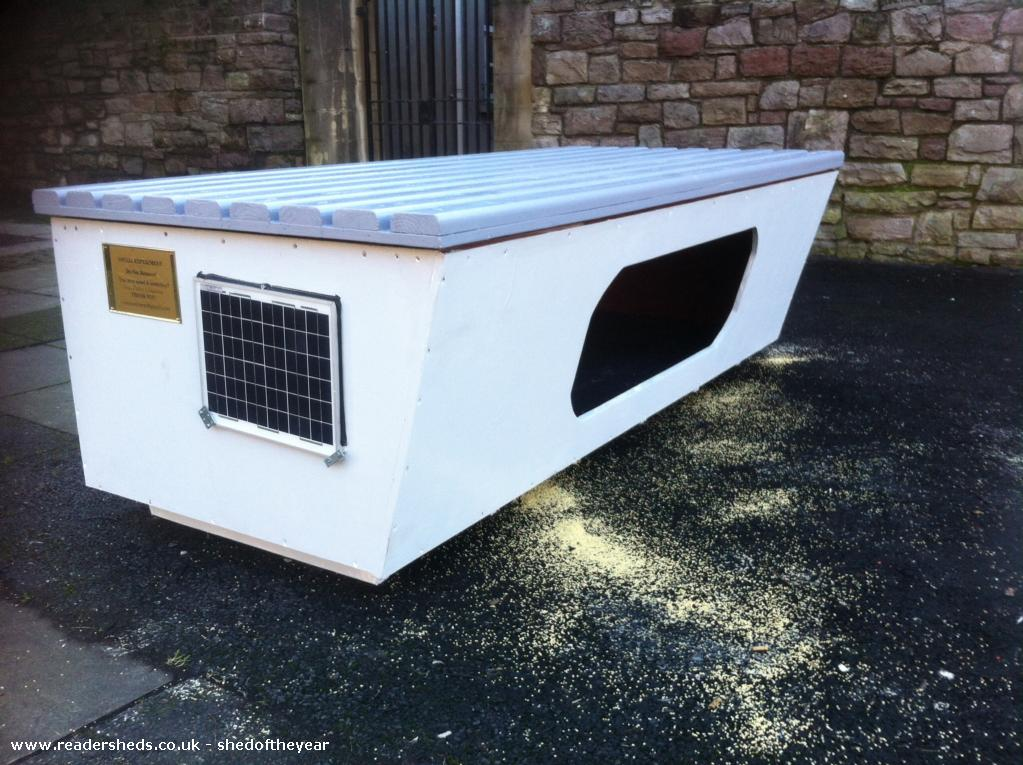 Photo of HI pod , entry to Shed of the year-The hipod.org bench seat shelter on Christmas eve