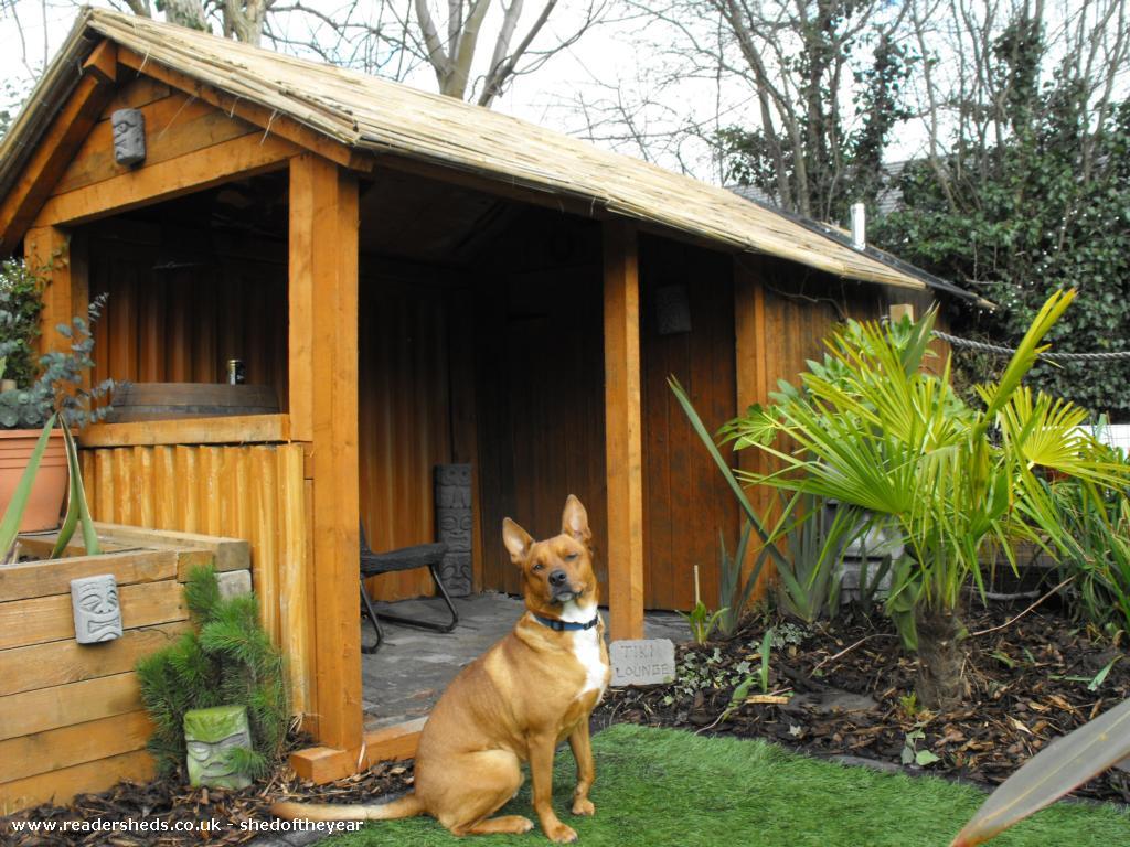 tiki headz workshop  - andrew bebbington - back garden in cheshire