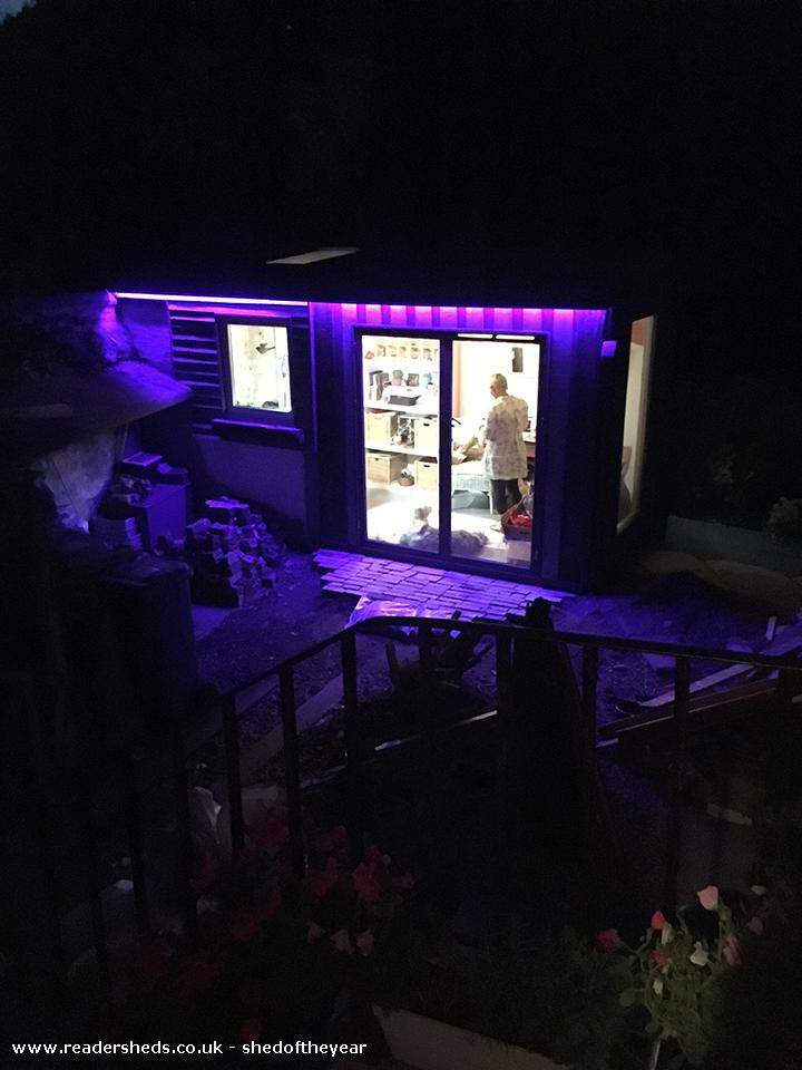 Photo of Susan's Funky Workshop, entry to Shed of the year-Workshop - Night View