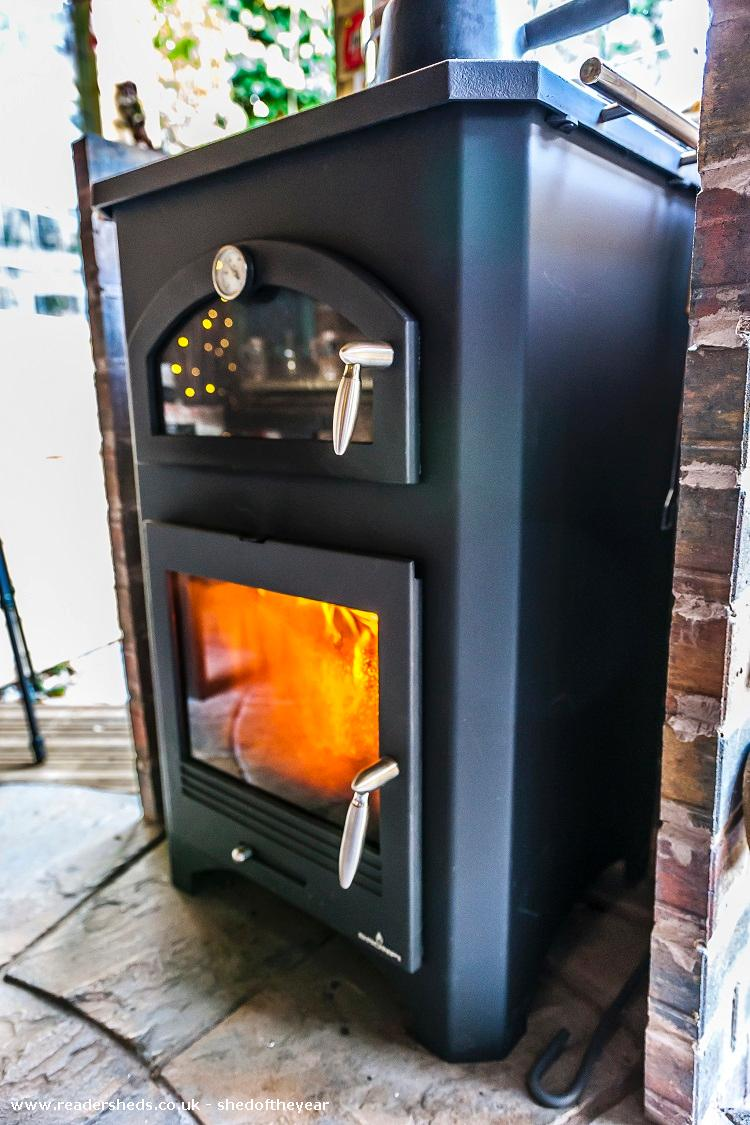 Photo of Love Shack Argentum, entry to Shed of the year-9 kw Spanish woodburning stove