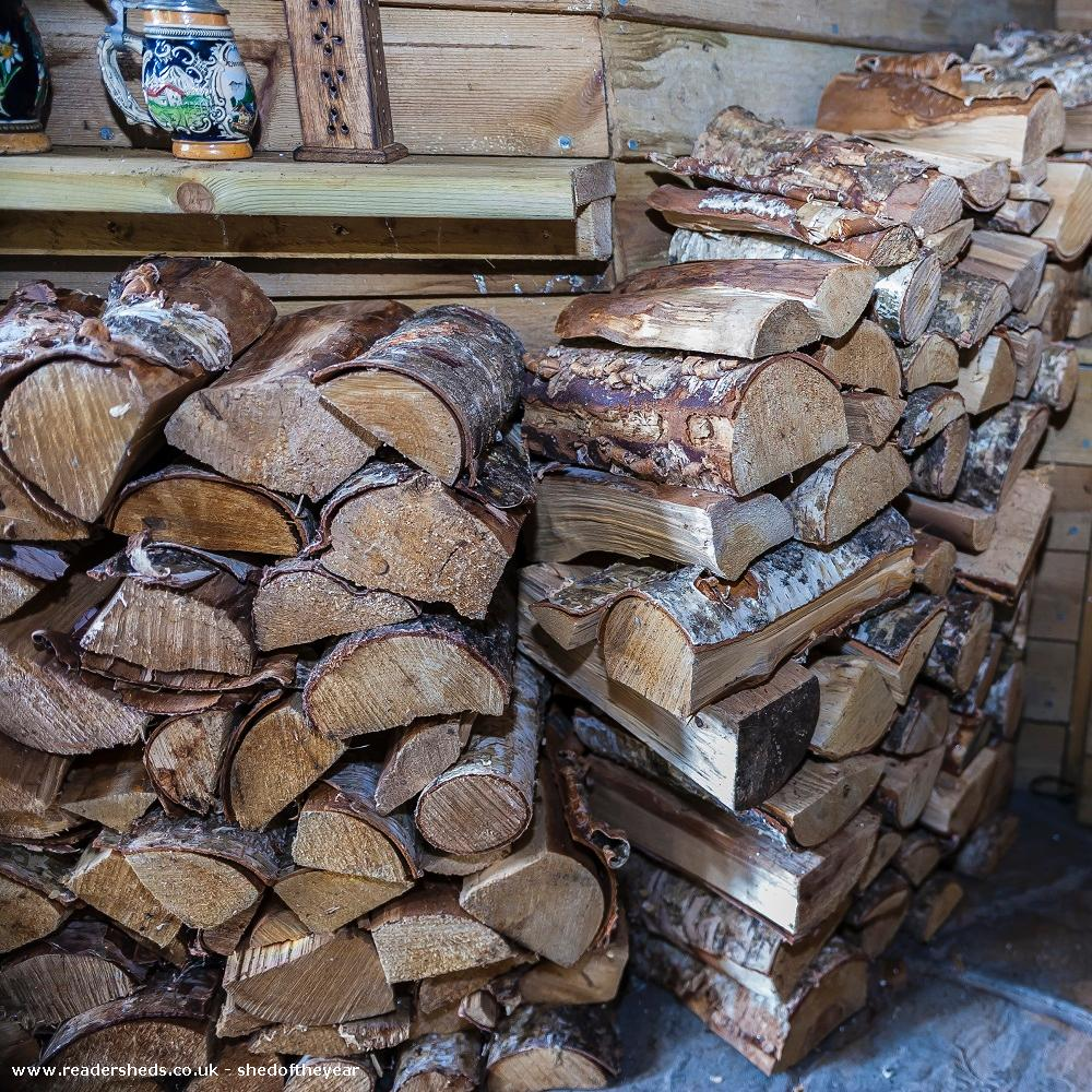 Photo of Love Shack Argentum, entry to Shed of the year-Larch logs for wood burner