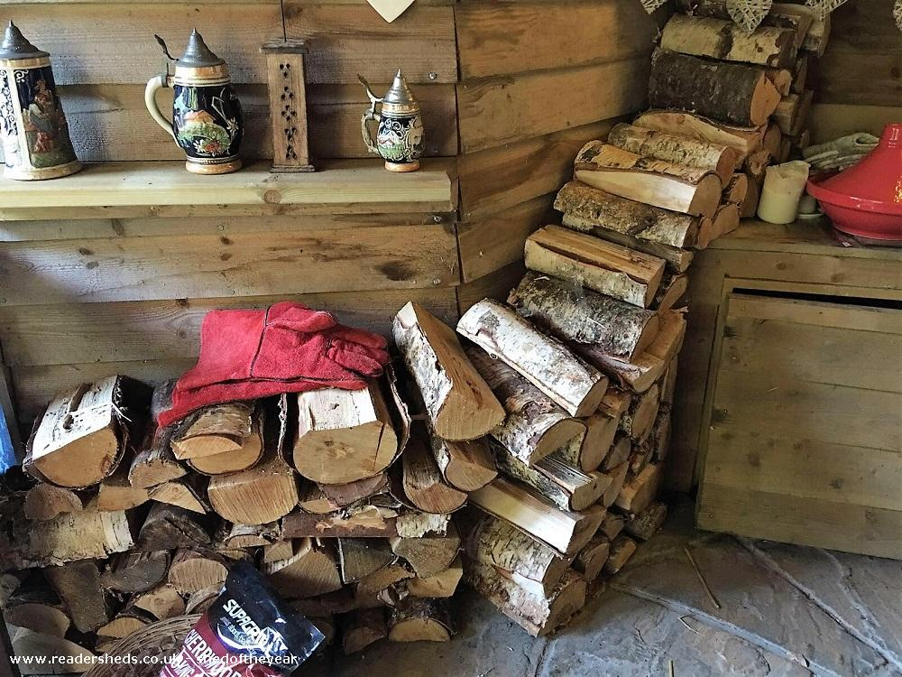 Photo of Love Shack Argentum, entry to Shed of the year-Home bargain larch woodpile