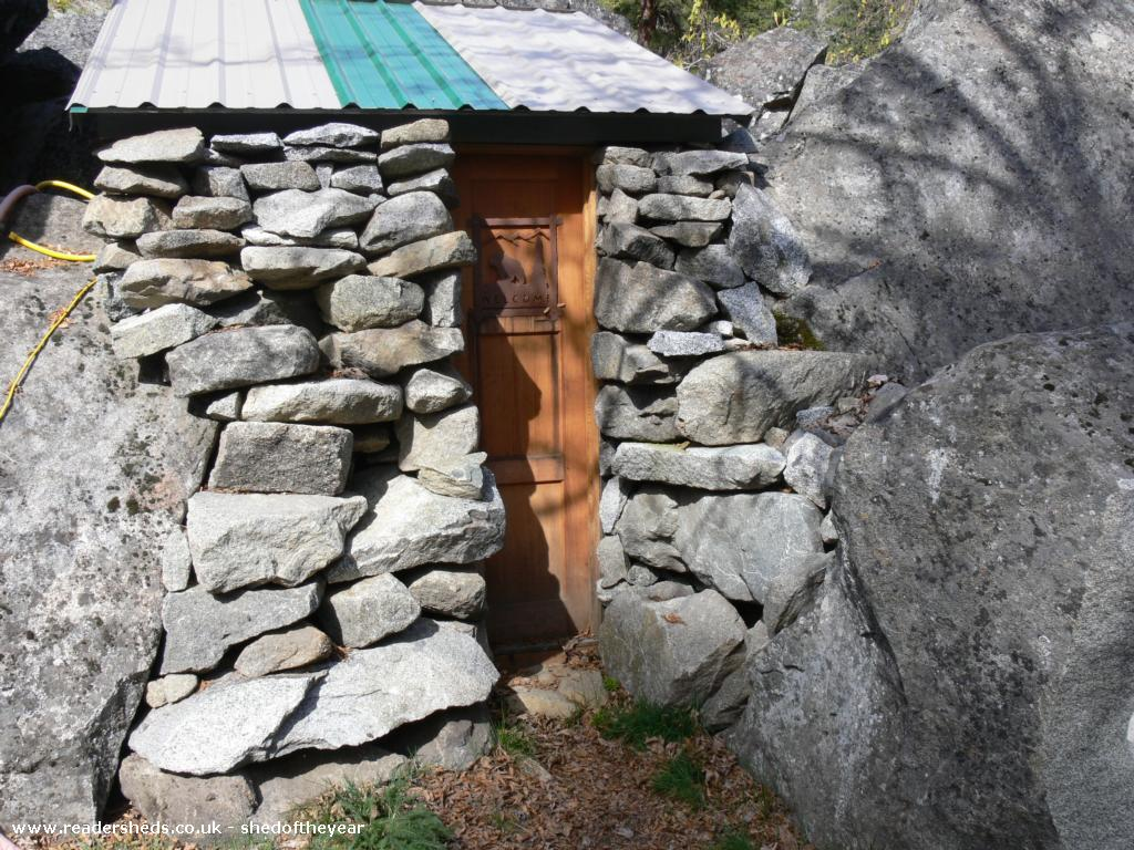 Photo of Rustic Stone Cabin, entry to Shed of the year-outhouse