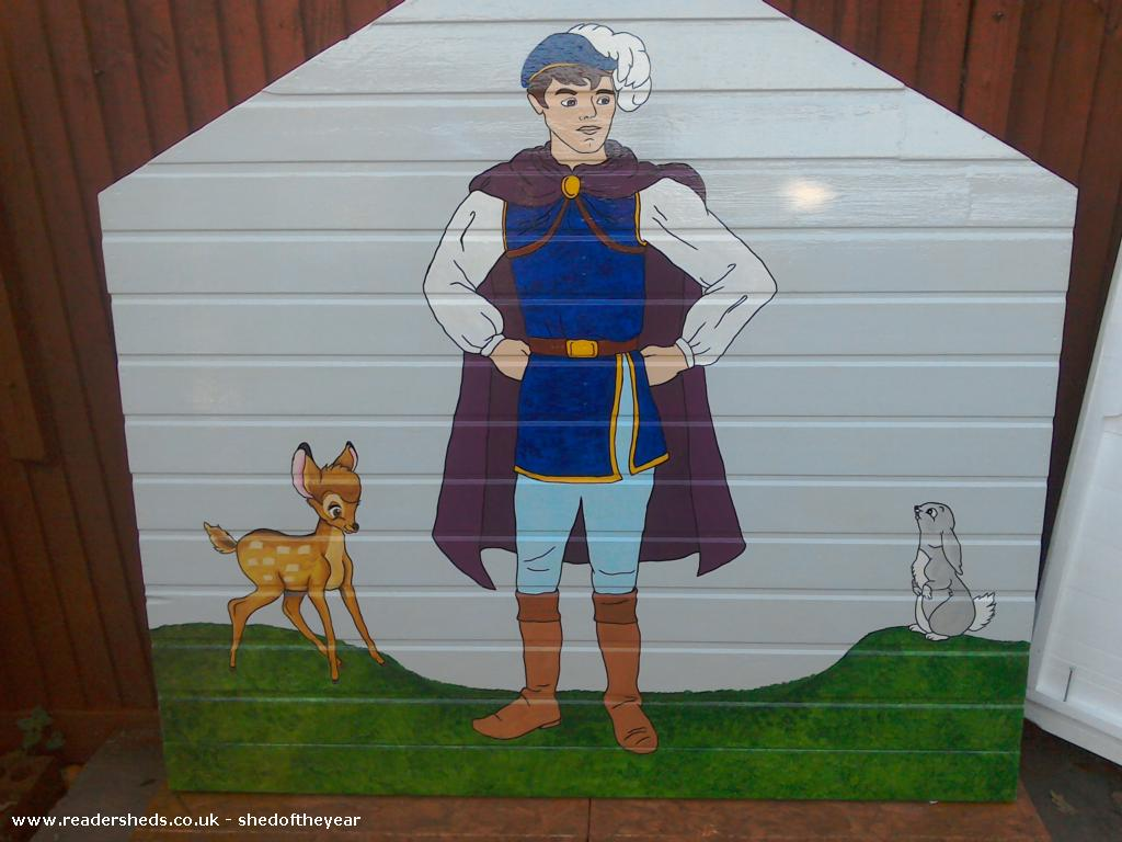 Photo of The seven dwarfs cottage, entry to Shed of the year-Prince charming rear panel