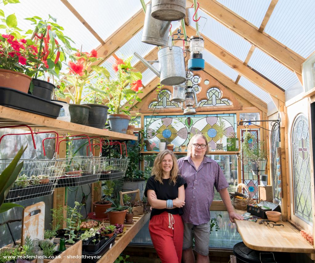 Photo of Great Glass Propagator , entry to Shed of the year-Shedbuilder Kate and Andy inside the Great Glass Propagator