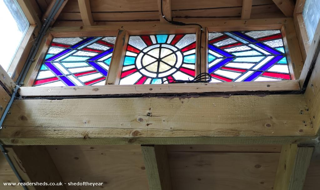 Photo of lok down, entry to Shed of the year-stained glass skylight