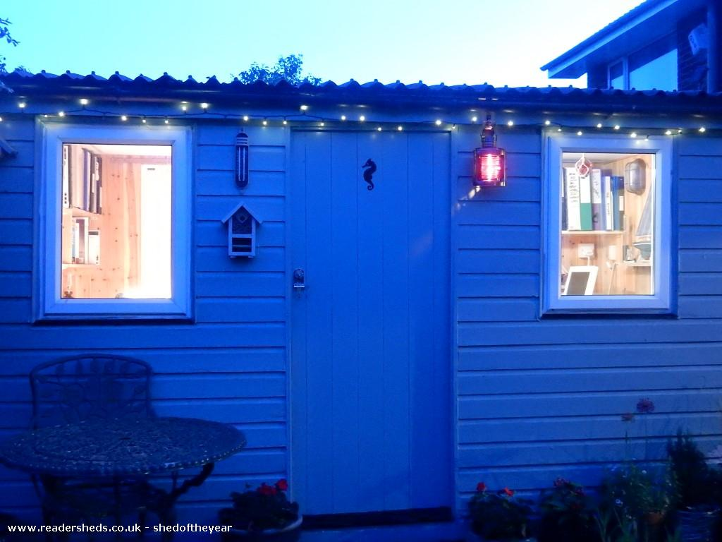 Photo of Coastguard's Cabin, entry to Shed of the year-Cabin at night