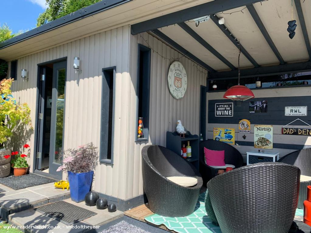 Photo of Dad's Den, entry to Shed of the year-Exterior shed and patio furniture