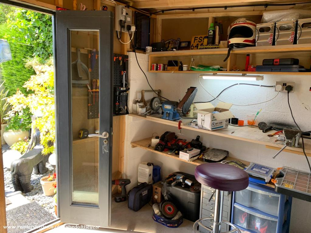 Photo of Dad's Den, entry to Shed of the year-Shed inside, dad's workshop area