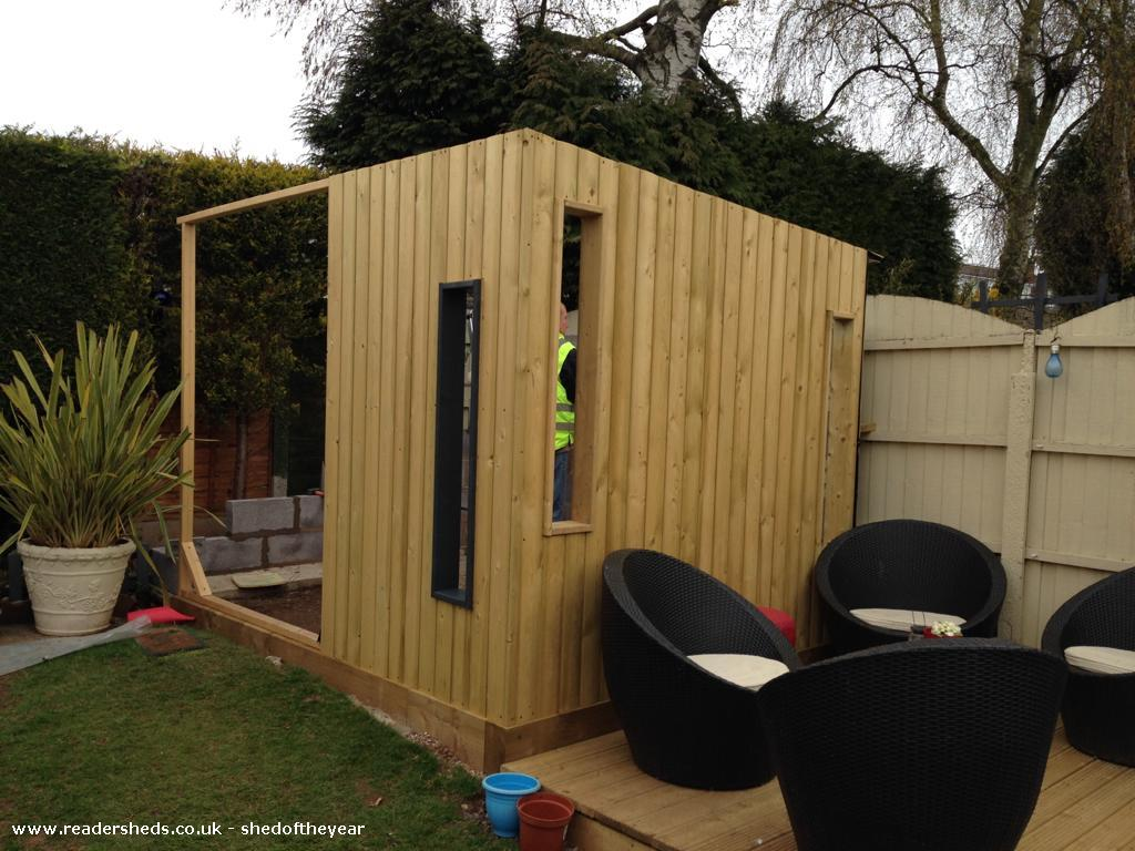 Photo of Dad's Den, entry to Shed of the year-Shed in progress