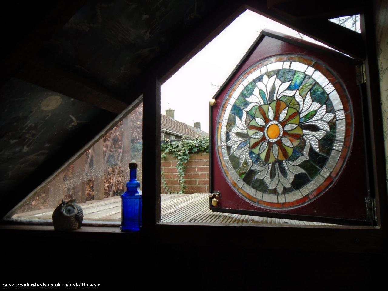 Photo of Ellie's Den, entry to Shed of the year-Stained glass door to flat roof