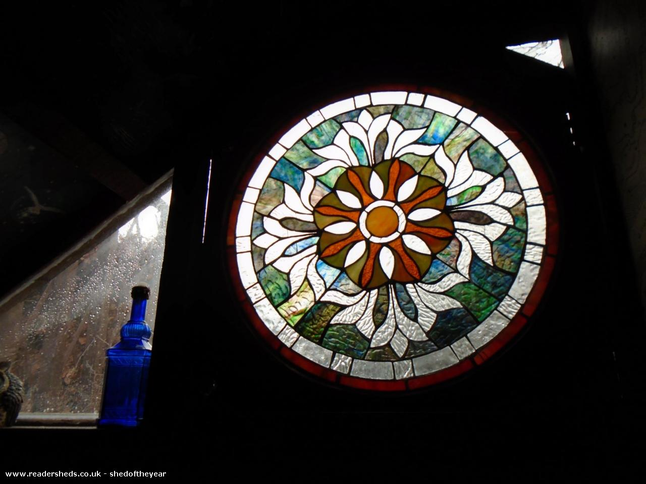 Photo of Ellie's Den, entry to Shed of the year-stained glass