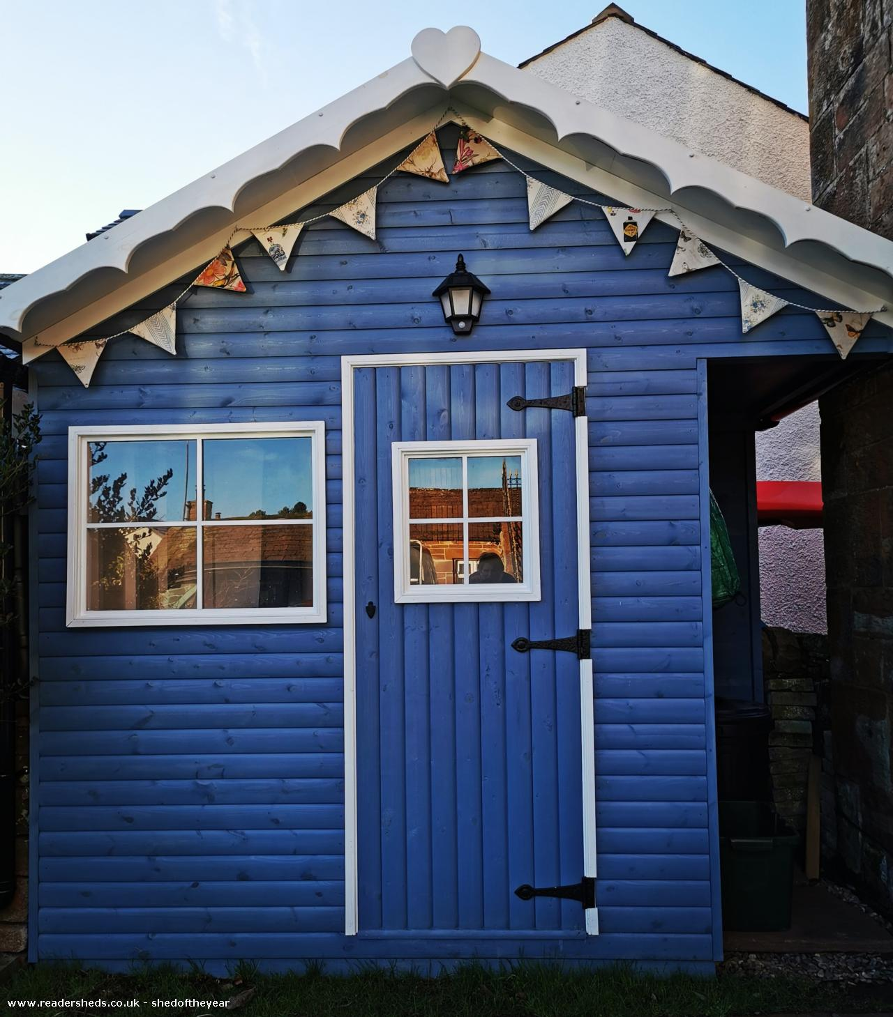 Photo of Posh Blue Shed, entry to Shed of the year-Front view bunting