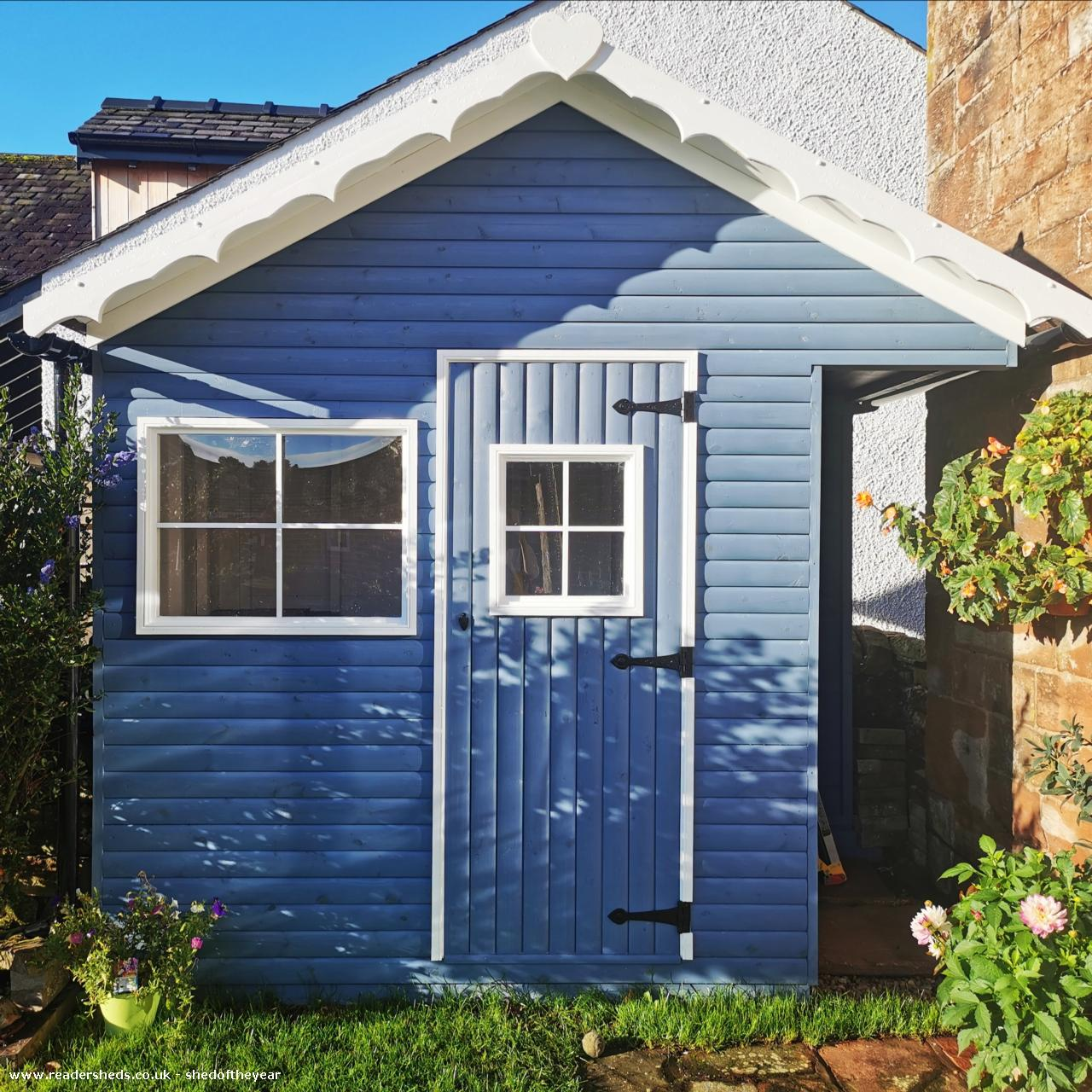 Photo of Posh Blue Shed, entry to Shed of the year-Front in sunshine