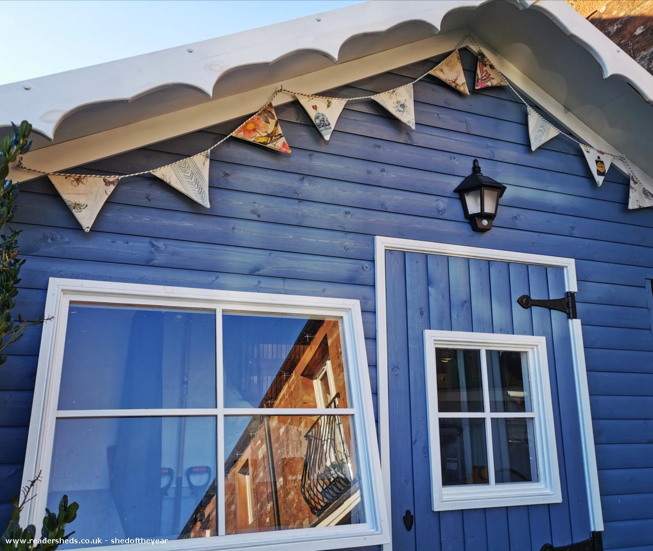 Photo of Posh Blue Shed, entry to Shed of the year-Handmade bunting