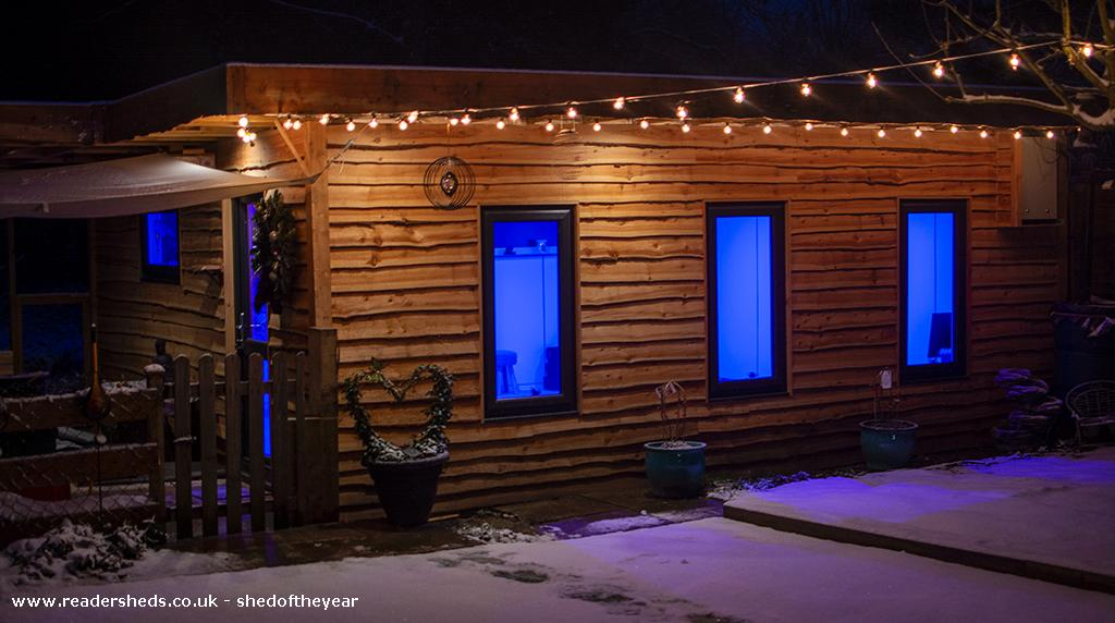 Photo of The Yoga Cabin, entry to Shed of the year-By night