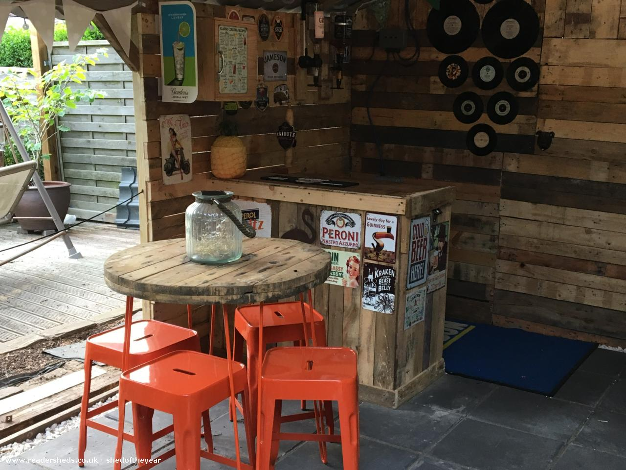 Photo of The Pink Flamingo Tiki Bar, entry to Shed of the year-Bar made from old Chest of drawers